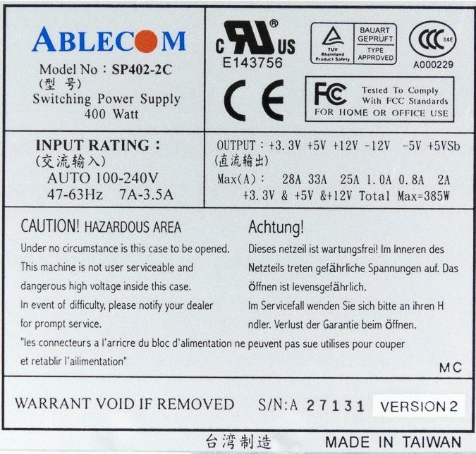 SuperMicro Ablecom PWS-0027 SP402-2C 400W 2U Power Supply