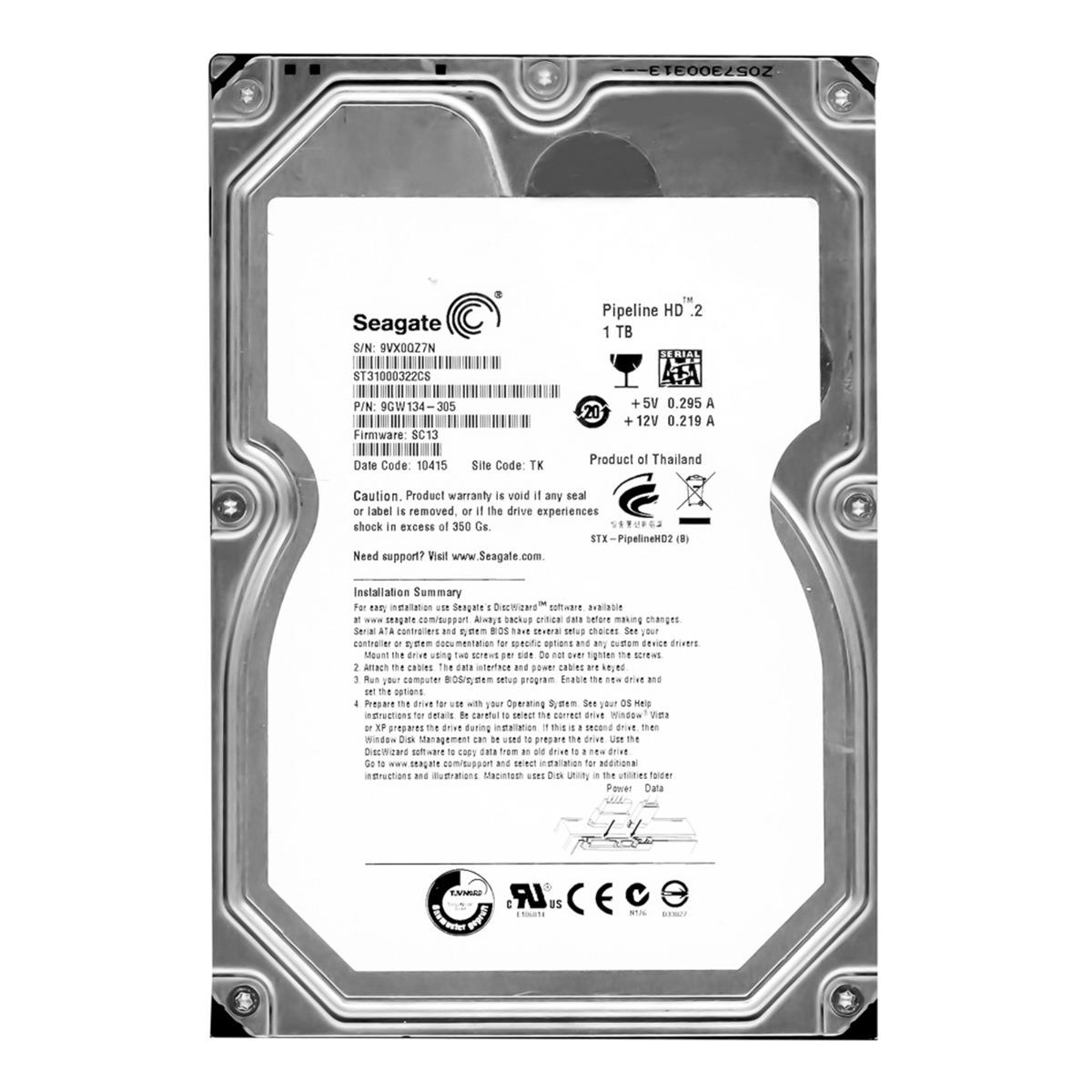 "Seagate 1TB Internal HDD 3.5/"" SATA ST31000322CS VIDEO 1000GB FACTORY SEALED"