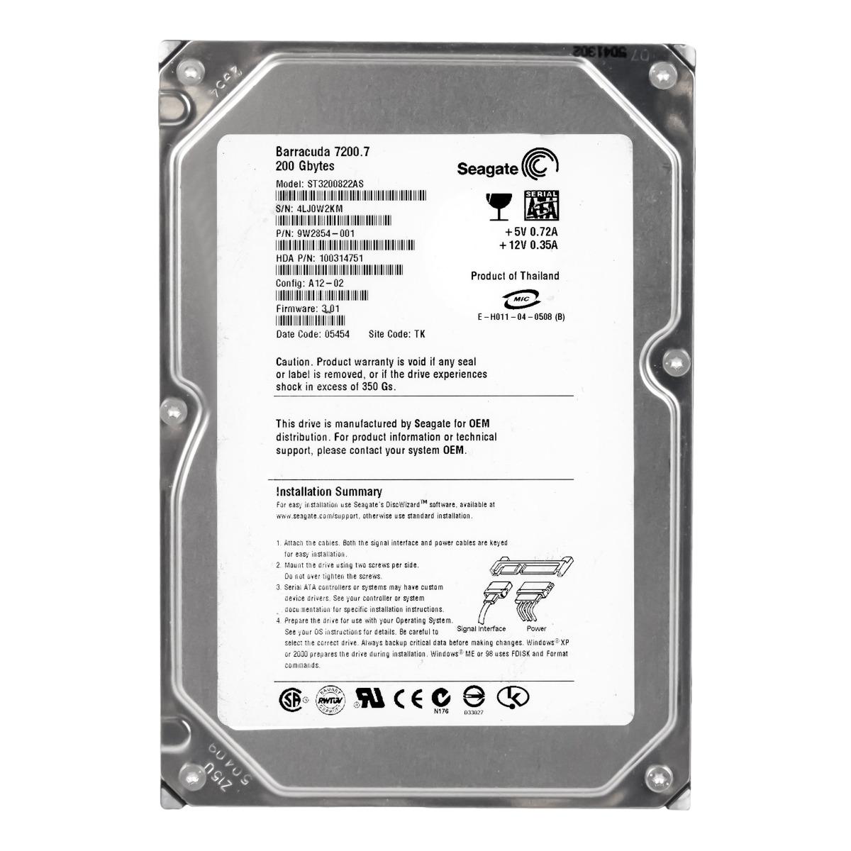 "Seagate Barracuda 7200.7 200 GB Hard Drive 3.5/"" SATA"