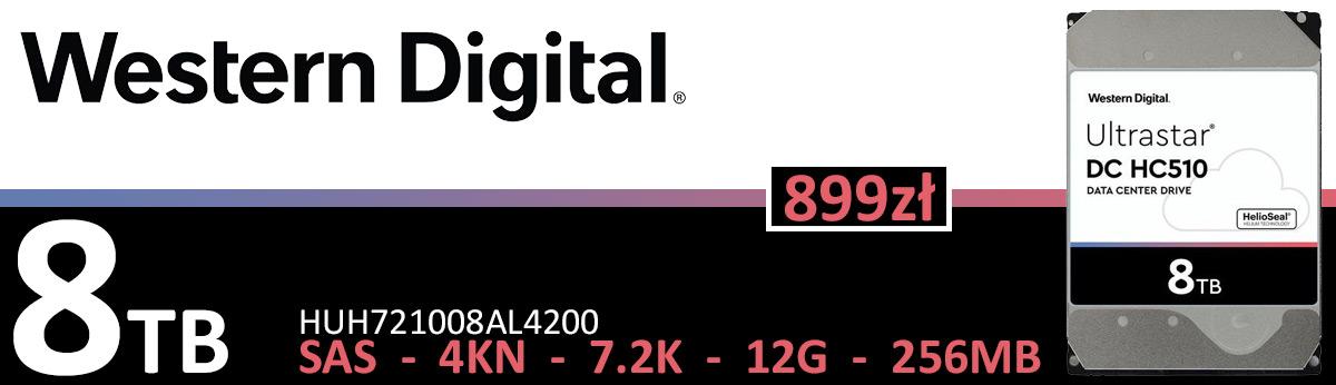 WD UltraStar DC HC510 8TB 7.2K 256MB SAS 12G 3.5'' HUH721008AL4200